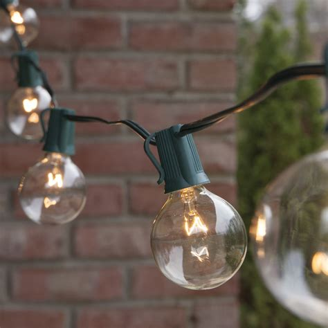 Patio Light Strings Patio Lights Commercial Clear Globe String Lights 25 G50 E17 Bulbs Green Wire