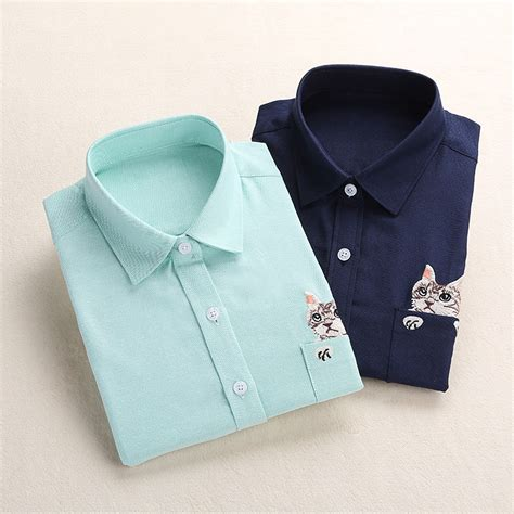 cat embroidered sleeve shirt cotton blouse sleeve casual animal