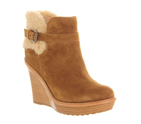 ugg boots ugg anais wedge ankle boots in brown lyst