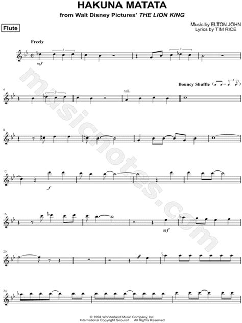 we cry testo quot hakuna matata flute quot from the king sheet