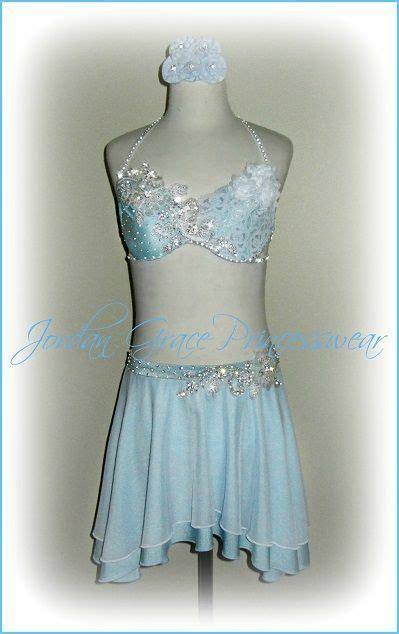 light blue lyrical costume light blue two piece jeweled floral accent s solo costume