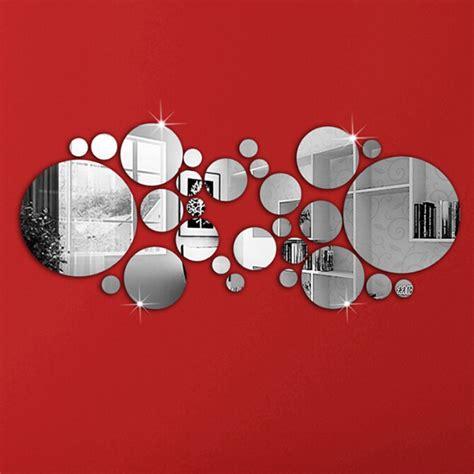 Nomor Rumah Akrilik Bulat 1 set sederhana 3d stiker dinding diy dekorasi rumah cermin bulat permukaan dinding stiker
