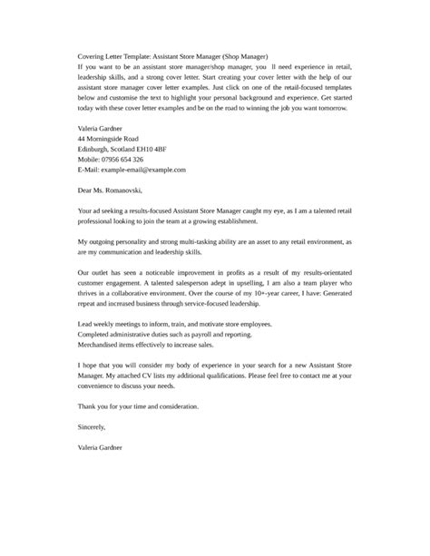 cover letter assistant manager basic assistant store manager cover letter sles and