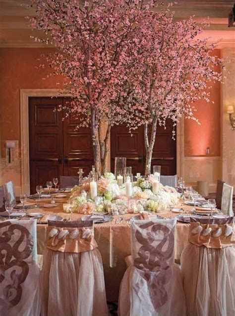 A Gorgeous Spring Tablescape With Blossoming Trees Tree Centerpieces For Weddings