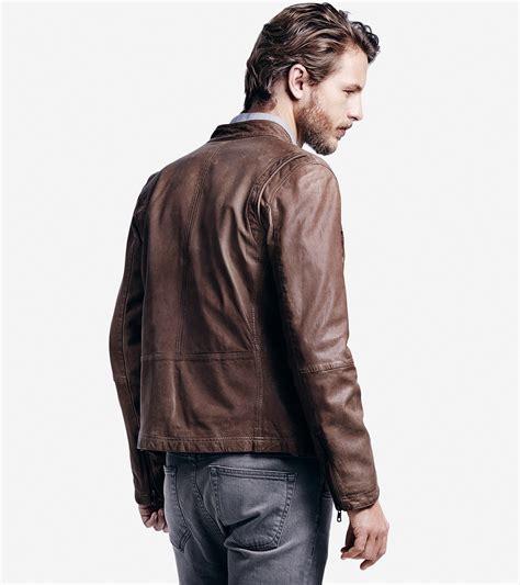 cole haan brown leather jacket cole haan vintage moto jacket in brown for lyst