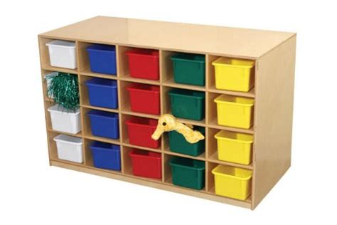 wooden mobile double sided tray shelf storage preschool