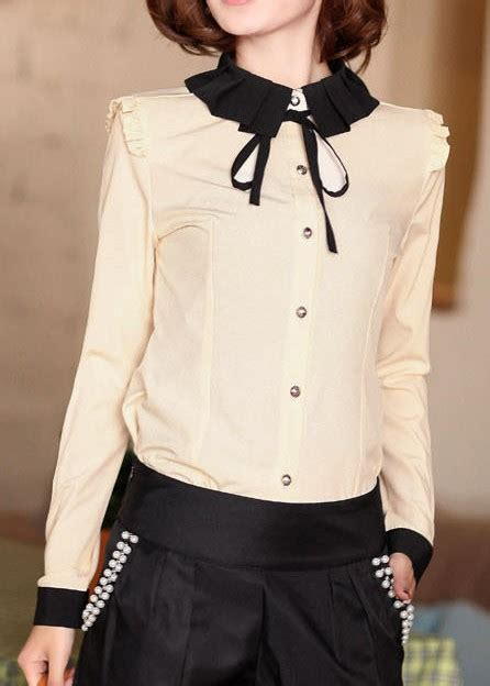 Womens Black Blouse With White Collar by S Blouses With Collars Clothing
