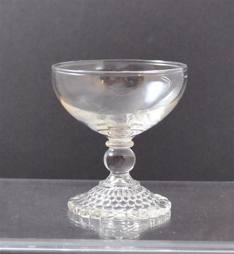 bubble glass l base vintage clear glass stemware bubble hobnail base sherbet