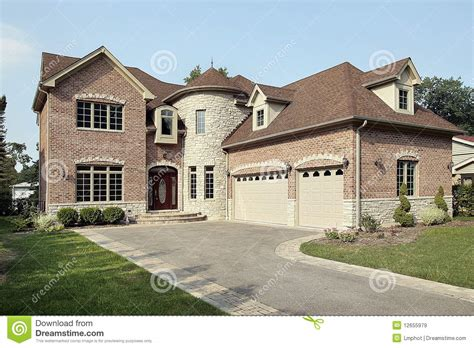 Large Luxury House Plans new brick home with turret royalty free stock images
