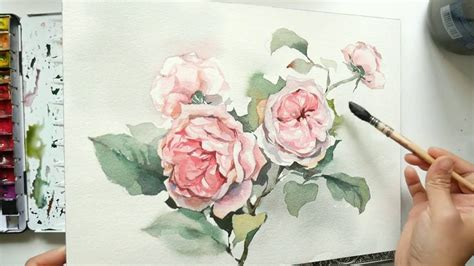 painting climbing roses in watercolor