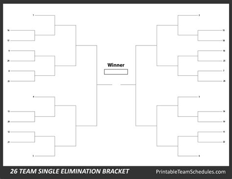 printable 26 team bracket single elimination tournament