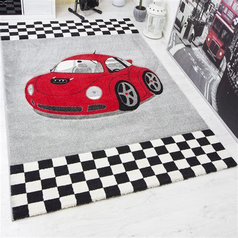 auto teppich modern kinder teppich car rennwagen in rot frisee i6777