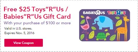 Where To Purchase Babies R Us Gift Cards - toys r us babies r us free 25 gift card w 100 purchase familysavings