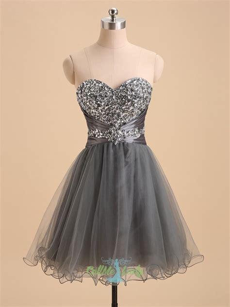 dark grey beading sweetheart short prom dress homecoming