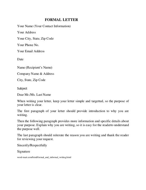 Formal Letter The Name 17204 Formal Letter Format