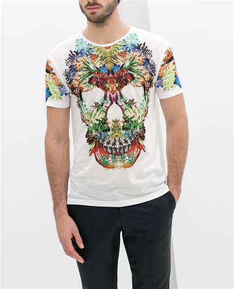 Zara Shirt Flower zara skull tshirt with flowers in white for lyst