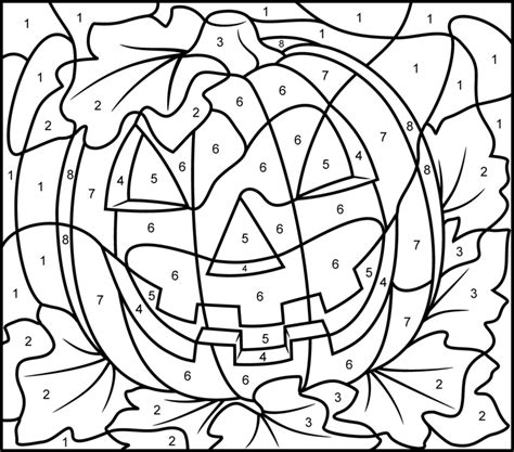 halloween coloring pages numbers jack o lantern pumpkin color by number activity coloring