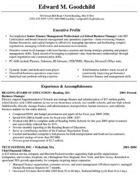 Resume Exles Business Management How To Write Resume For Business School Writing