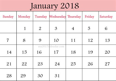 Calendar 2018 Jan June January 2018 Calendar February 2018 Calendar Printable