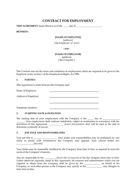 employment agreement template free best photos of free employee contract agreement contract