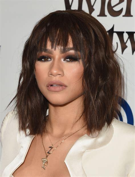 Zendaya Hairstyle by Zendaya Coleman Medium Wavy Cut With Bangs Zendaya