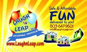 bounce house business cards pictures for laugh n leap amusements in columbia sc 29209
