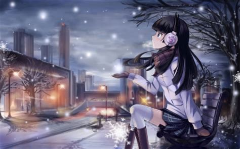 anime girl winter wallpaper winter night other anime background wallpapers on