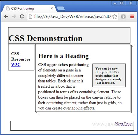 layout manager absolute positioning compare the absolute and relative css positioning in html