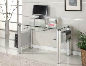 Innovex Computer Desk With Glass Top Innovex Clear Glass And Chrome Computer Desk Dp1065
