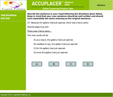 reading comprehension test accuplacer accuplacer sentence skills online course and practice