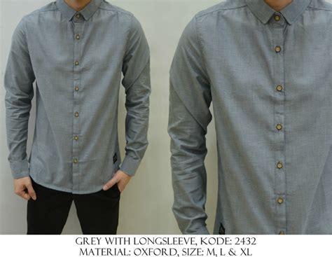 Kemeja X Grey baju distro baju kemeja grey with sleeve