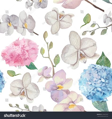 natural pattern flower watercolor natural pattern orchid flowers hydrangea stock
