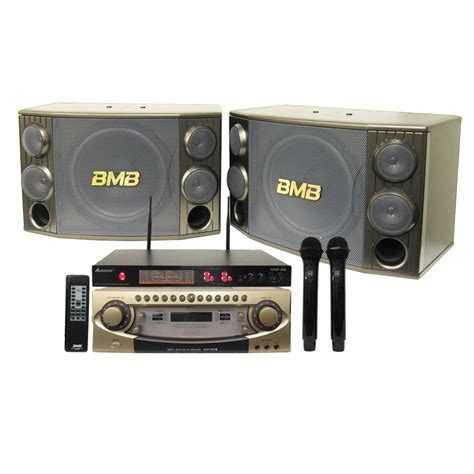 Speaker Karaoke Bmb bmb pro 600w mixing lifier and speaker system with dual uhf mics