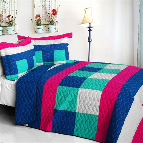 Plaid Patchwork Quilts - eternity cotton vermicelli quilted patchwork plaid quilt