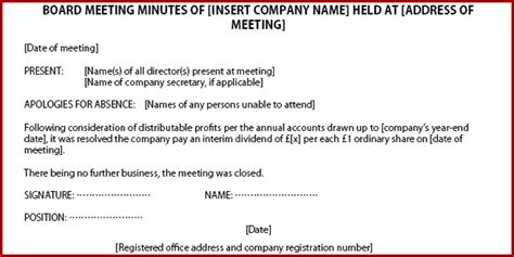 corporate minute template corporate minutes template template business