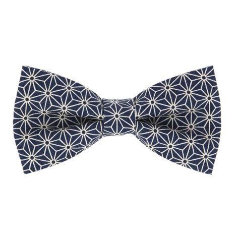 japanese pattern tie navy blue bow tie with geometric pattern the nines
