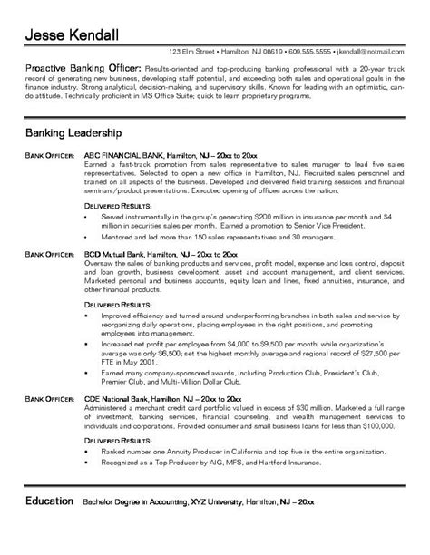 Sle Resume For Personal Banking Officer Www Bank Resume Sales Banking Lewesmr