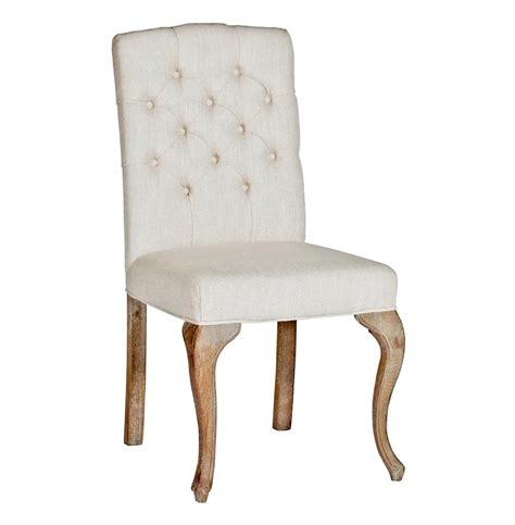 Avignon French Country Tufted Back Oak Linen Dining Chairs Tufted Dining Chairs