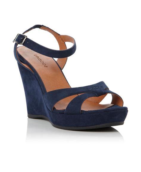 navy wedge sandals episode gratitude ankle wedge sandals in blue navy
