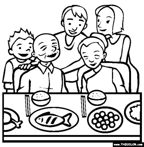coloring pages of joint family reunion dinner online coloring page things kids do at