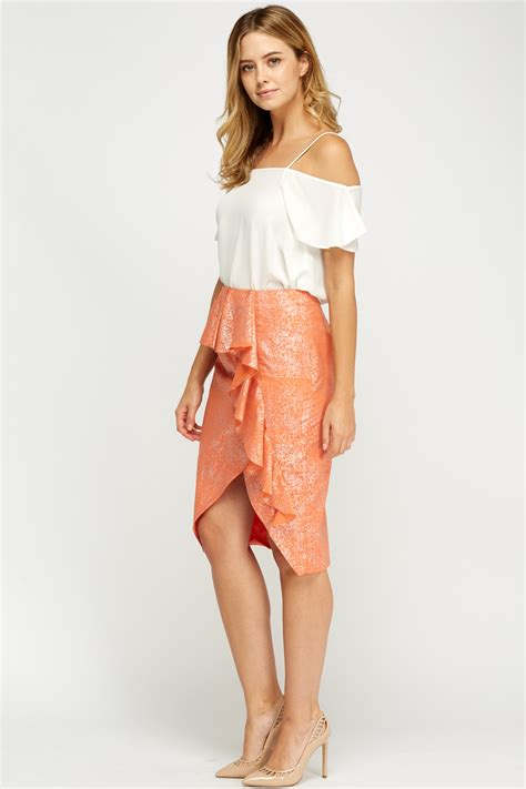 Frilled Midi Skirt metallic frilled coral midi skirt just 163 5