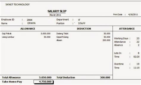 contoh slip gaji karyawan yang baik dan benar terbaru