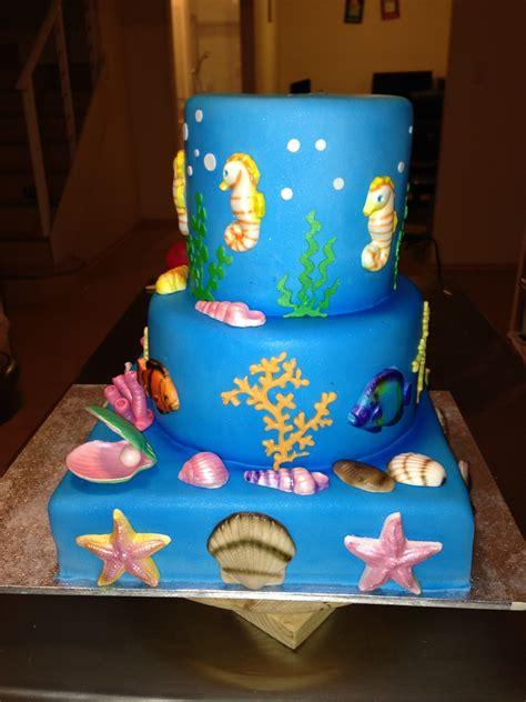 Ee  Birthday Ee   Cake For  Ee   Ee    Ee  Year Ee    Ee  Old Ee   Gum Paste Seahorses Shells