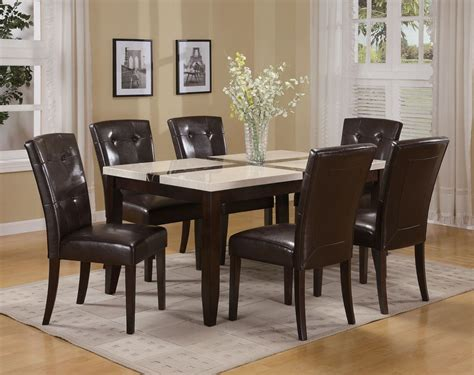 acme justin white faux marble top dining table set in