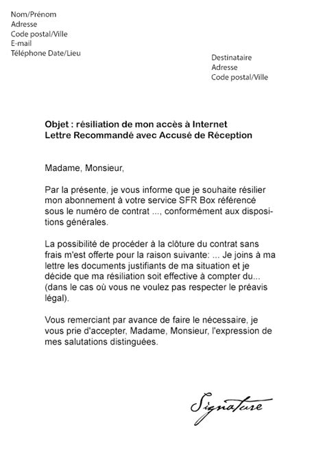 Modele De Lettre A Free Modele Lettre Resiliation Box Document
