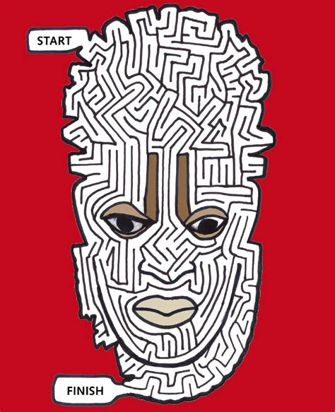 printable african art african mask maze printable art games for kids print