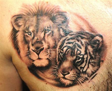 lion tiger tattoo designs tiger pictures to pin on tattooskid
