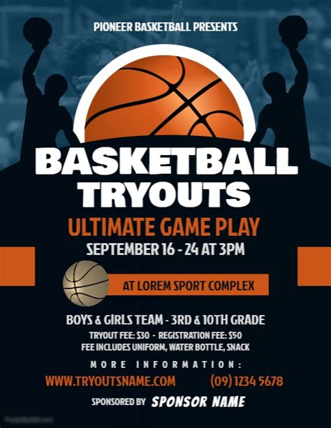 Copy Of Basketball Tryouts Flyer Postermywall Basketball Poster Template