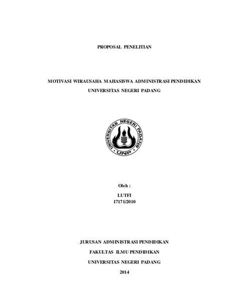 Proposal Penelitian : Motivasi Wirausaha Mahasiswa