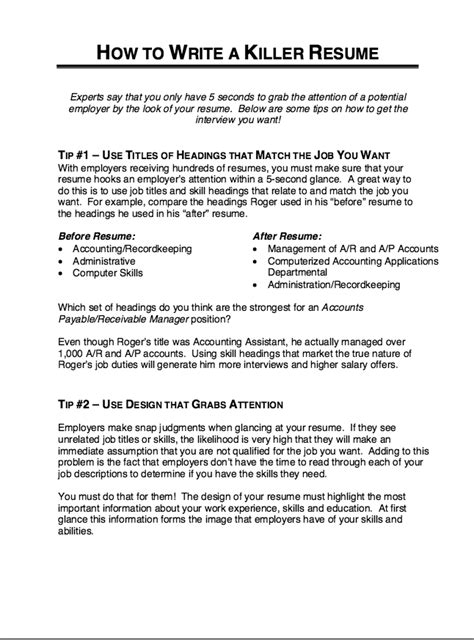 Killer Resume Tips How To Write A Killer Resume Http Resumesdesign How To Write A Killer Resume Free